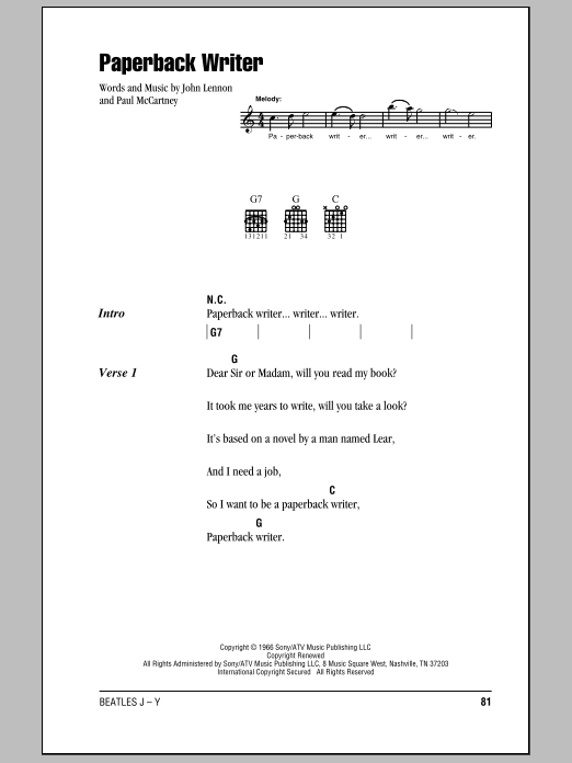 Paperback Writer (Guitar Chords/Lyrics)