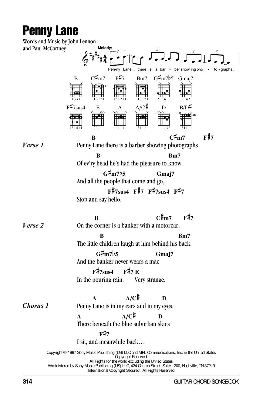 Penny Lane (Guitar Chords/Lyrics)