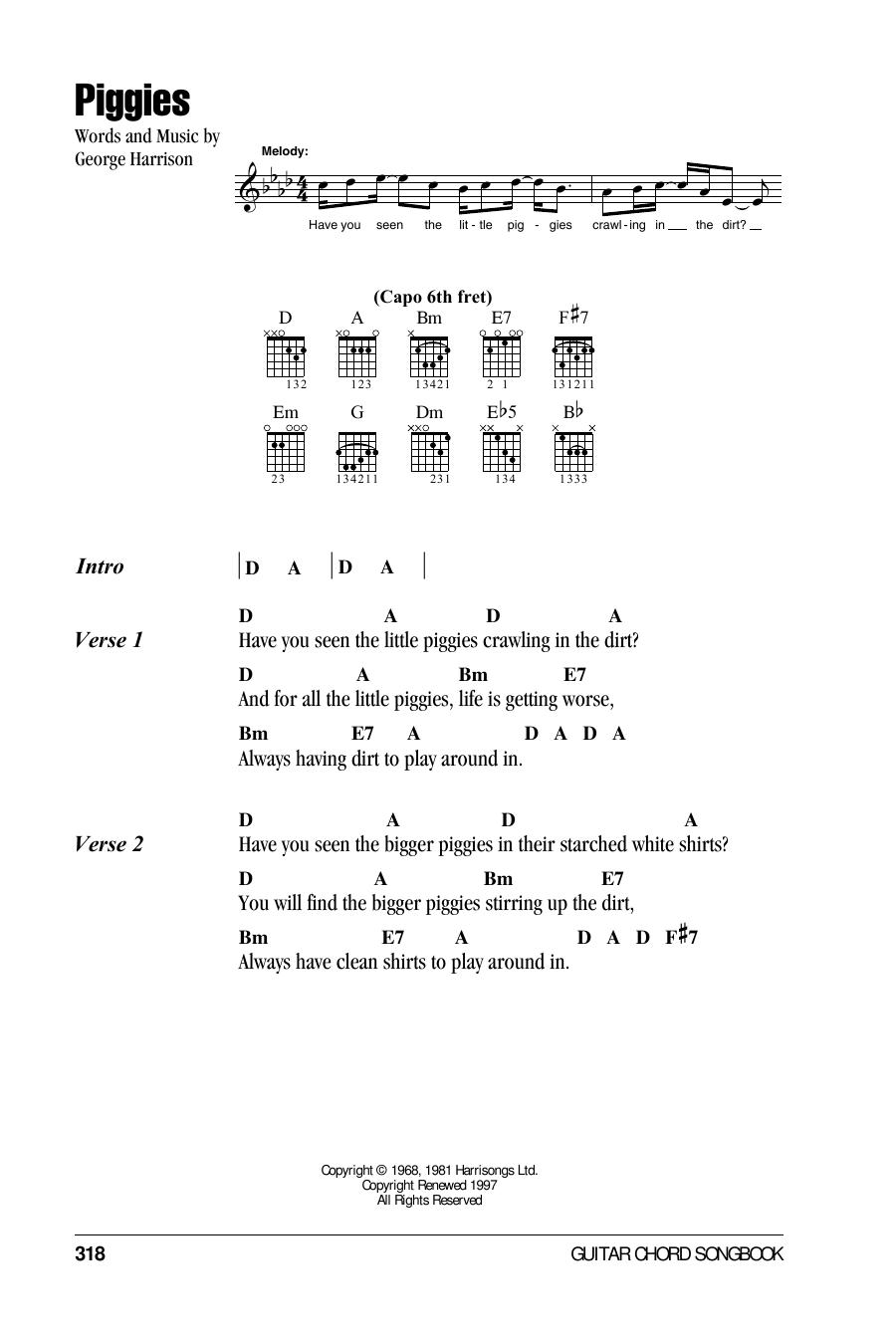 Piggies (Guitar Chords/Lyrics)