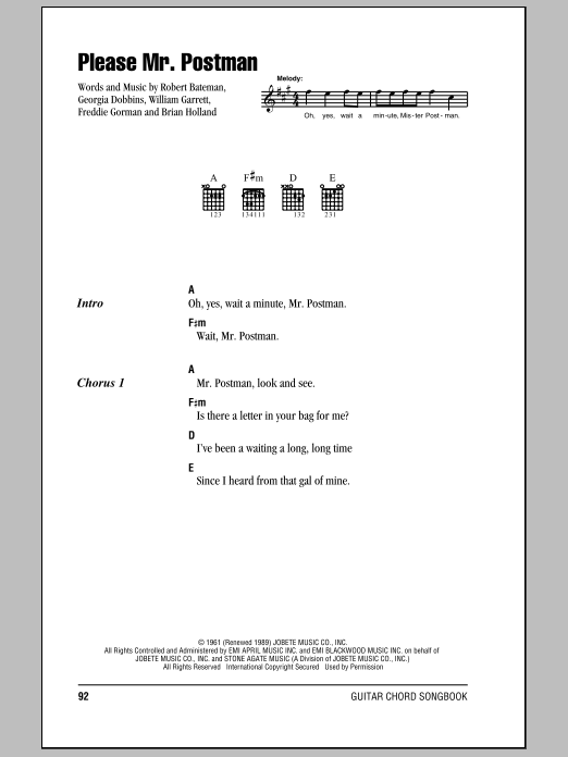 Please Mr. Postman Sheet Music
