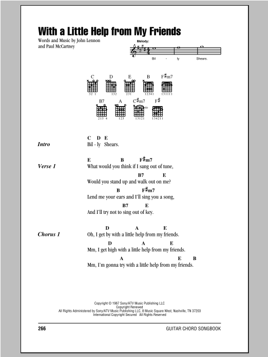 With A Little Help From My Friends By The Beatles Guitar Chords
