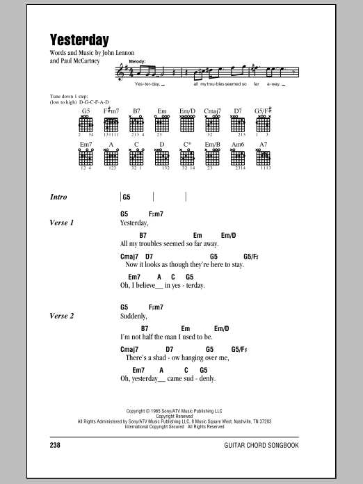 Ukulele yesterday ukulele chords : Yesterday sheet music by The Beatles (Lyrics & Chords – 78511)