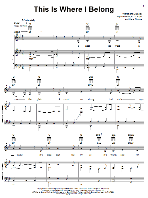 This Is Where I Belong Sheet Music