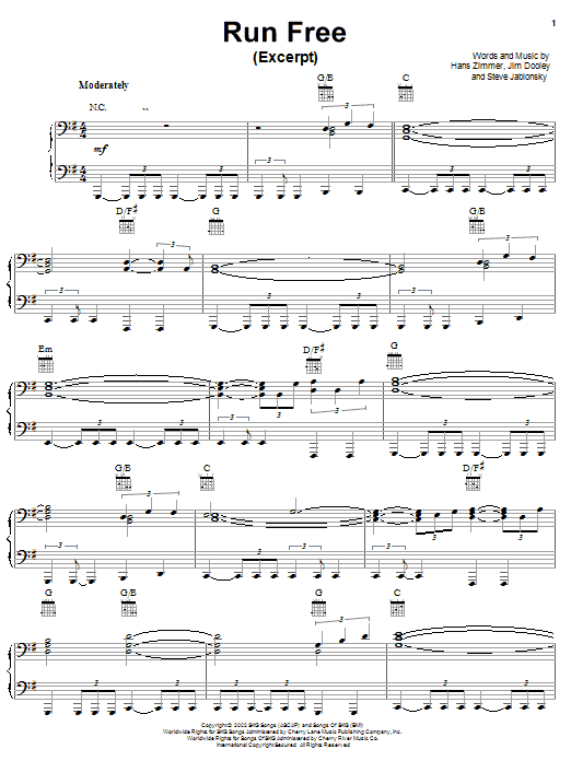 Partition piano Run Free (from Spirit de Hans Zimmer - Piano Voix Guitare (Mélodie Main Droite)