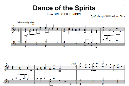 Dance Of The Blessed Spirits (from Orfeo ed Euridice) Sheet Music