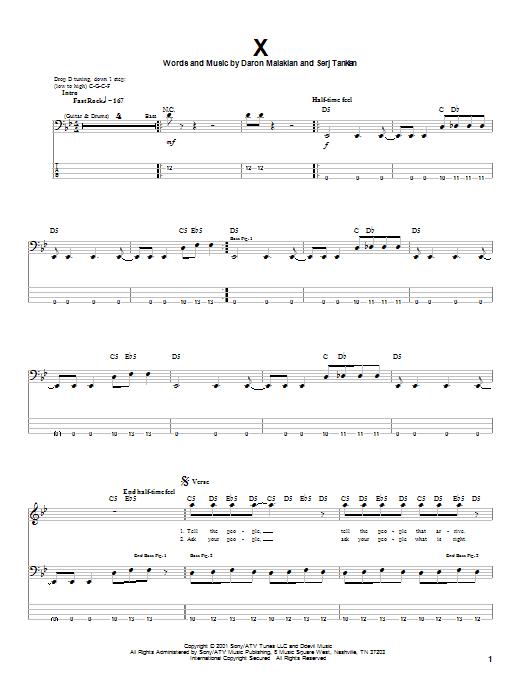 X (Bass Guitar Tab)