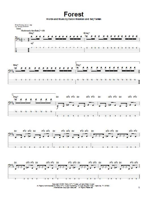 Forest (Bass Guitar Tab)