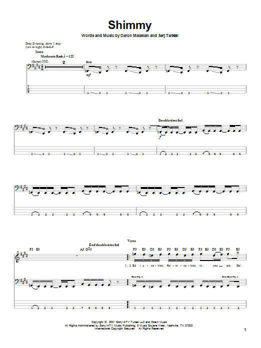 Shimmy (Bass Guitar Tab)