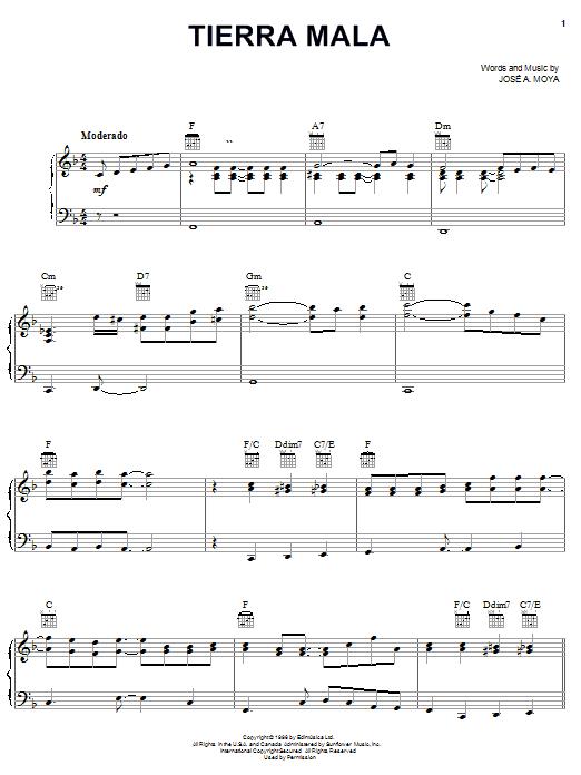 Tierra Mala (Piano, Vocal & Guitar (Right-Hand Melody))