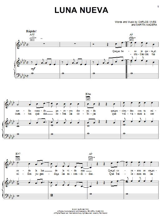 Partition piano Luna Nueva de Carlos Vives - Piano Voix Guitare (Mélodie Main Droite)
