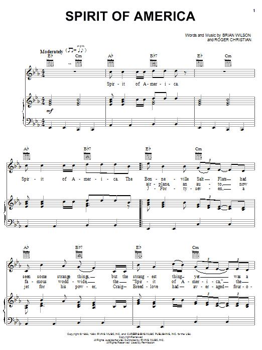 Partition piano Spirit Of America de The Beach Boys - Piano Voix Guitare (Mélodie Main Droite)