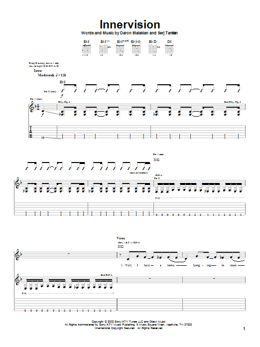 Tablature guitare Innervision de System Of A Down - Tablature Guitare