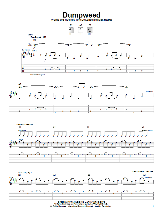 Tablature guitare Dumpweed de Blink-182 - Tablature Guitare