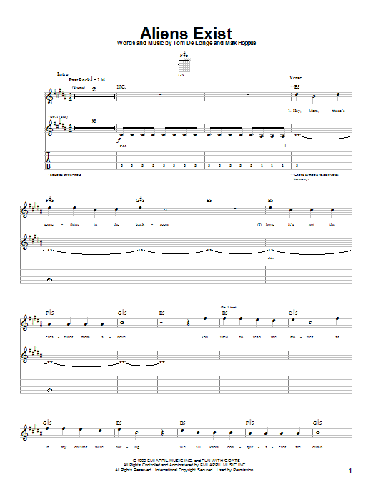 Aliens Exist Sheet Music Blink 182 Guitar Tab