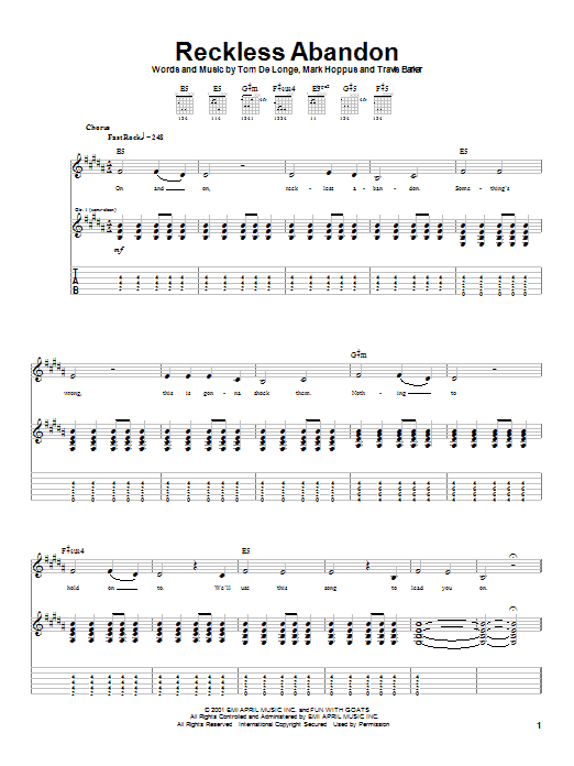 Tablature guitare Reckless Abandon de Blink-182 - Tablature Guitare