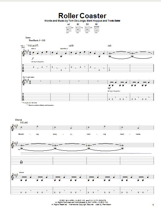 Tablature guitare Roller Coaster de Blink-182 - Tablature Guitare