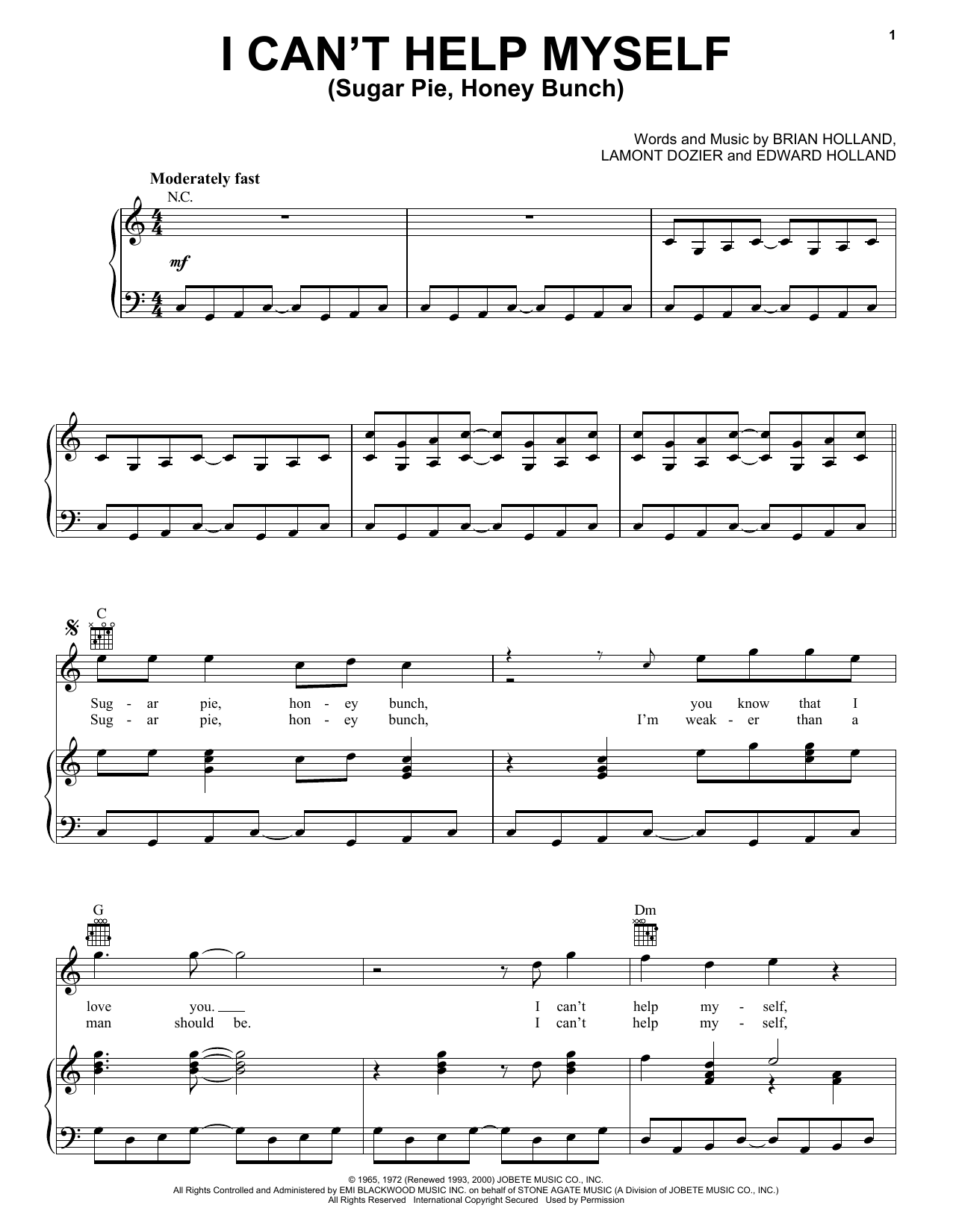 I Can't Help Myself (Sugar Pie, Honey Bunch) Sheet Music