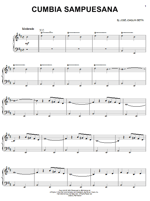Cumbia Sampuesana (Piano, Vocal & Guitar (Right-Hand Melody))