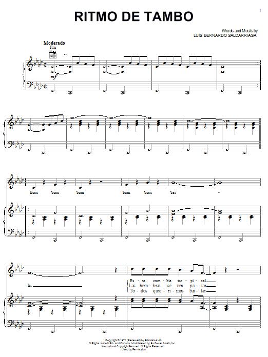 Ritmo De Tambo (Piano, Vocal & Guitar (Right-Hand Melody))