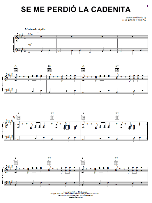 Se Me Perdió La Cadenita (Piano, Vocal & Guitar (Right-Hand Melody))