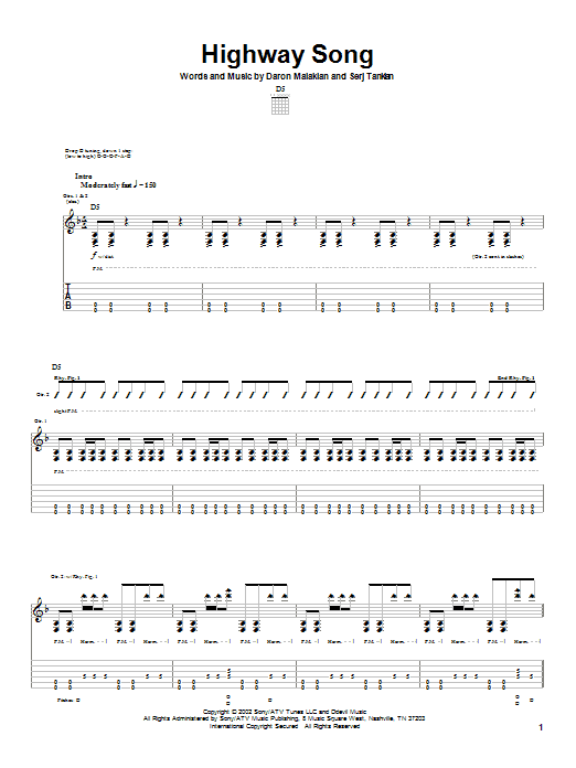 Tablature guitare Highway Song de System Of A Down - Tablature Guitare