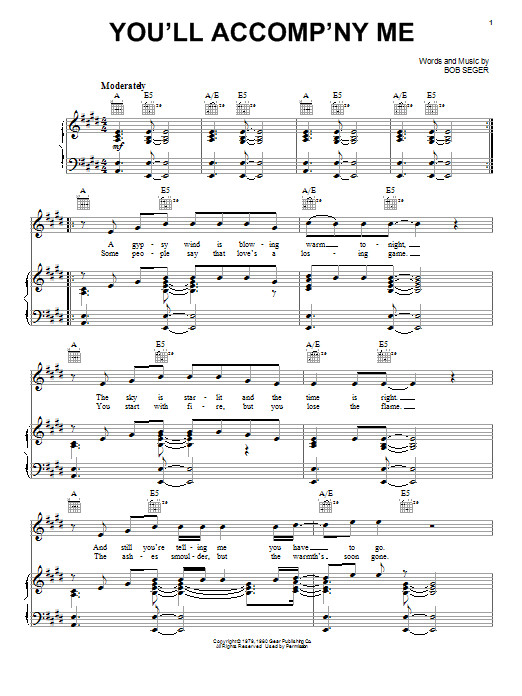 You'll Accomp'ny Me (Piano, Vocal & Guitar (Right-Hand Melody))