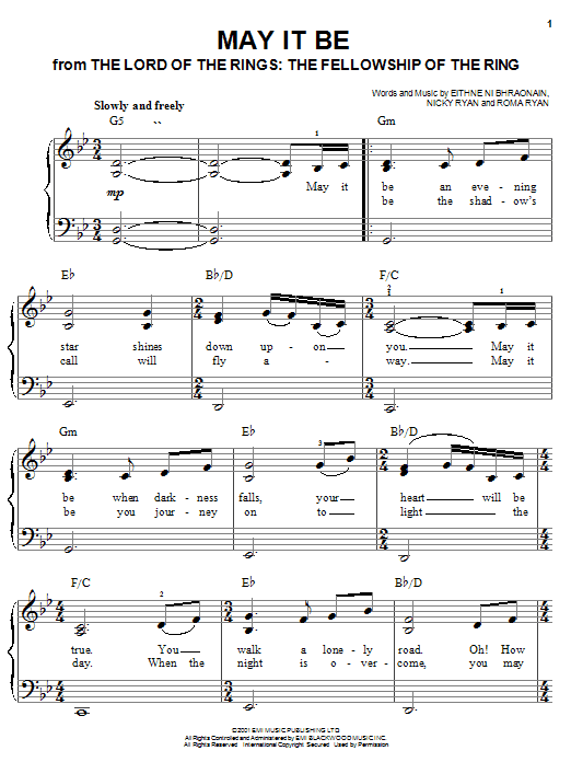 May It Be (from Lord Of The Rings: The Fellowship of the Ring) Sheet Music