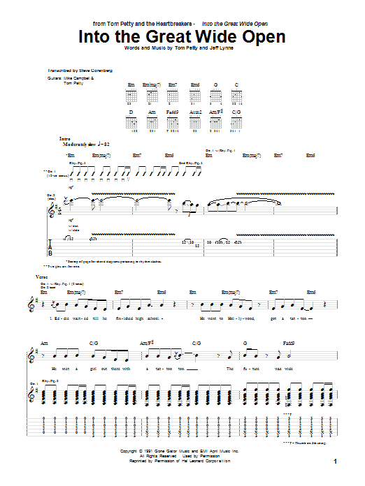 Tablature guitare Into The Great Wide Open de Tom Petty - Tablature Guitare