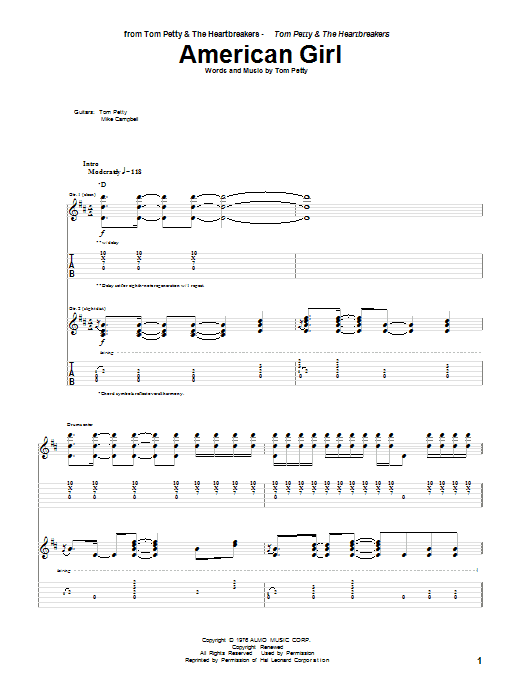 Tablature guitare American Girl de Tom Petty - Tablature Guitare