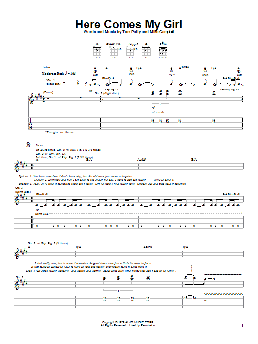 Here Comes My Girl Guitar Tab by Tom Petty And The Heartbreakers ...