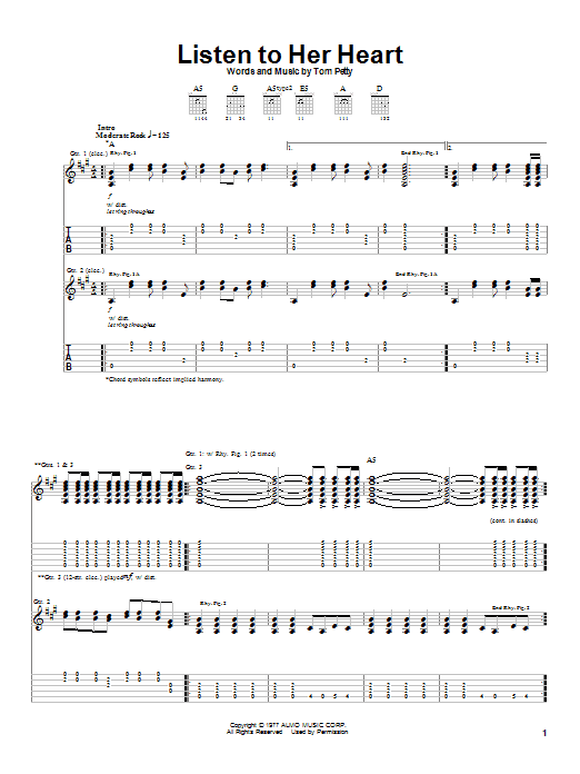 Tablature guitare Listen To Her Heart de Tom Petty - Tablature Guitare