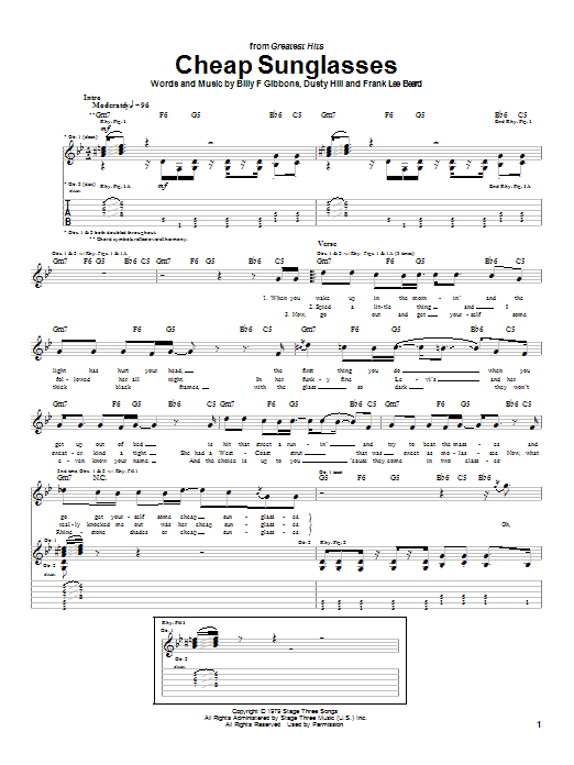 Cheap Sunglasses Sheet Music