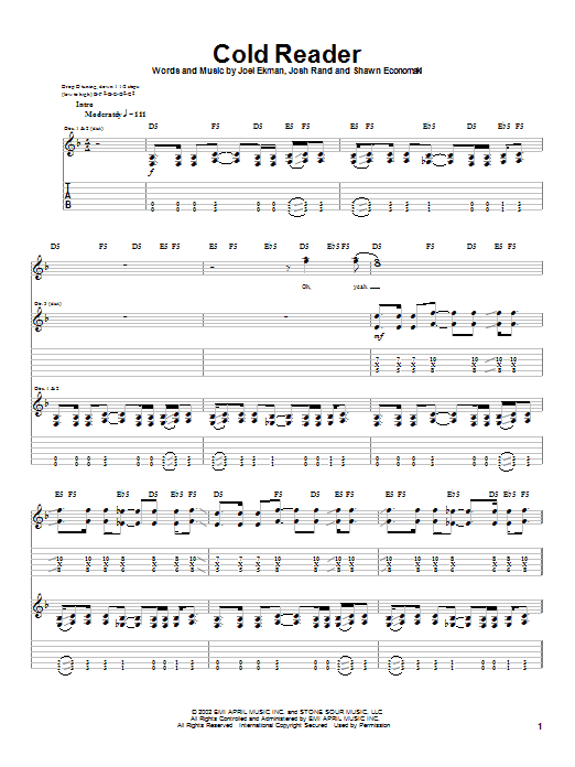 Cold Reader Sheet Music