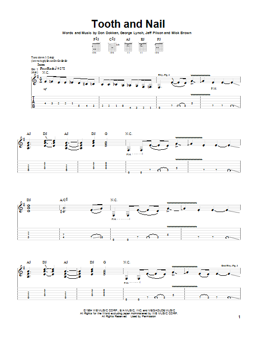 Tooth And Nail (Guitar Tab)