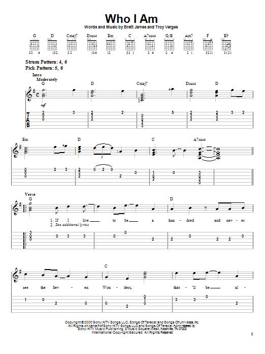 Tablature guitare Who I Am de Jessica Andrews - Tablature guitare facile