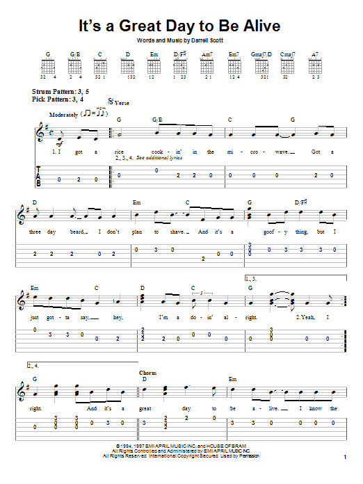 It's A Great Day To Be Alive (Easy Guitar Tab)