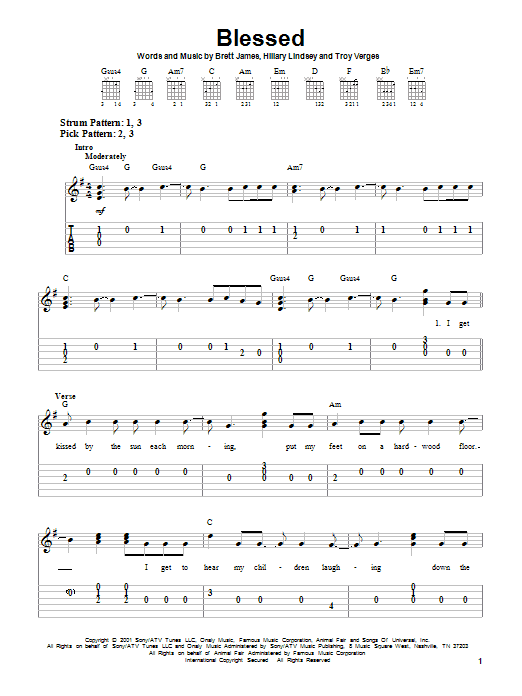 Tablature guitare Blessed de Martina McBride - Tablature guitare facile