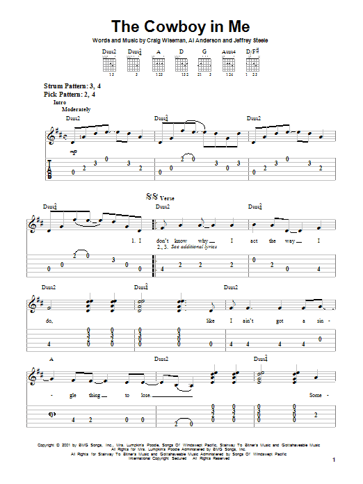 Tablature guitare The Cowboy In Me de Tim McGraw - Tablature guitare facile