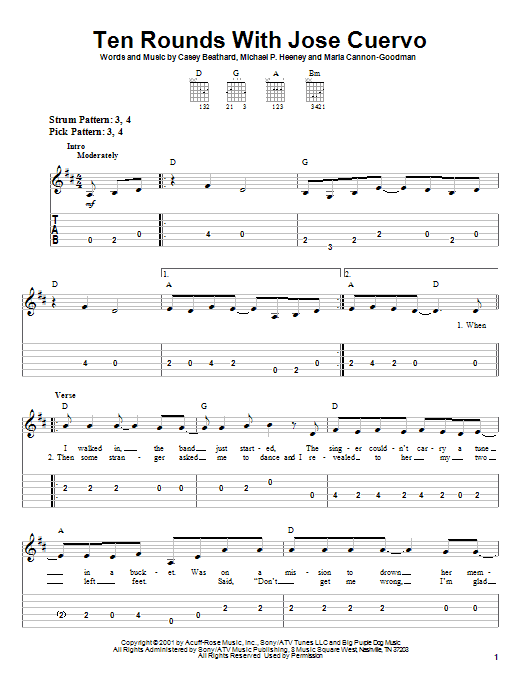 Tablature guitare Ten Rounds With Jose Cuervo de Tracy Byrd - Tablature guitare facile