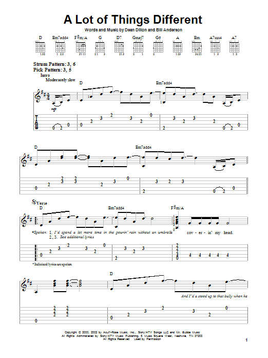 A Lot Of Things Different (Easy Guitar Tab)