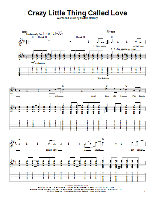 Tablature guitare Crazy Little Thing Called Love de Queen - Playback Guitare