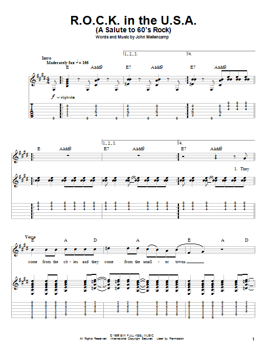 Tablature guitare R.O.C.K. In The U.S.A. (A Salute To 60's Rock) de John Cougar Mellencamp - Tablature Guitare