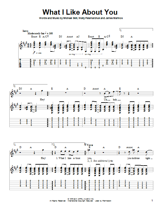 Tablature guitare What I Like About You de The Romantics - Playback Guitare