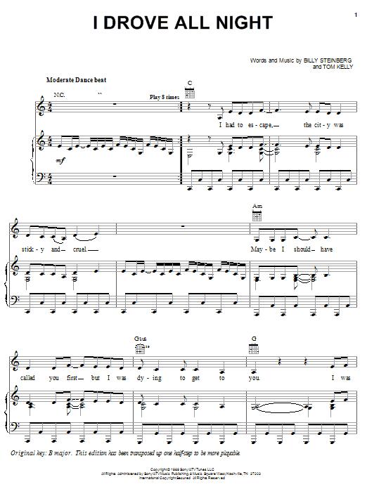 I Drove All Night (Piano, Vocal & Guitar (Right-Hand Melody))