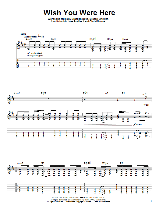 Guitar guitar tabs wish you were here : Wish You Were Here sheet music by Incubus (Guitar Tab Play-Along ...