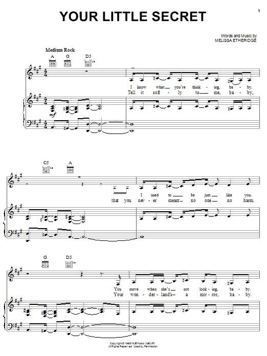 Partition piano Your Little Secret de Melissa Etheridge - Piano Voix Guitare (Mélodie Main Droite)