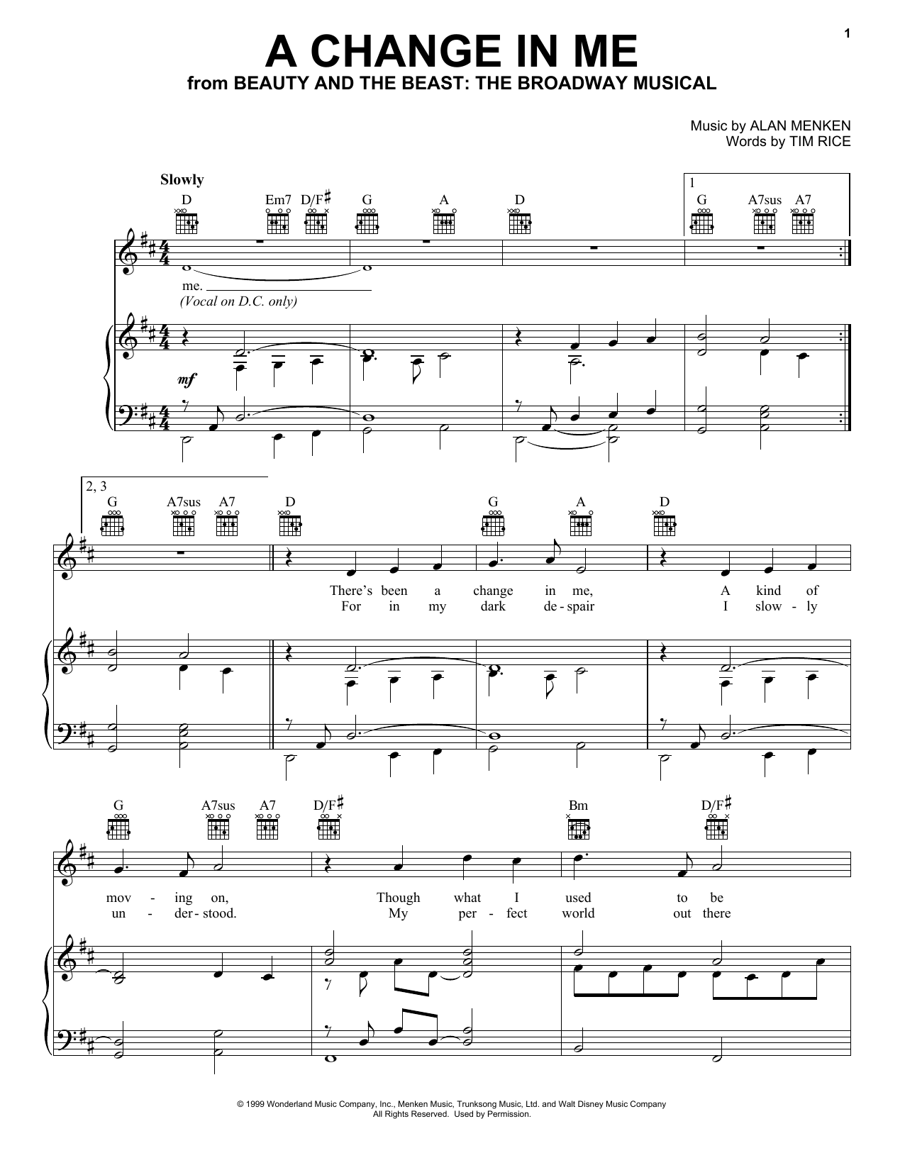 A Change In Me (from Beauty and the Beast: The Musical) (Piano, Vocal & Guitar (Right-Hand Melody))