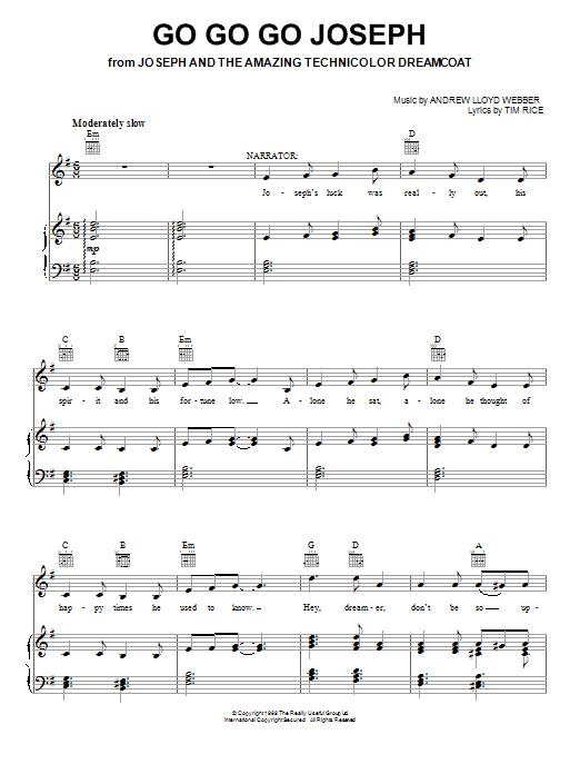 Go Go Go Joseph (Piano, Vocal & Guitar (Right-Hand Melody))