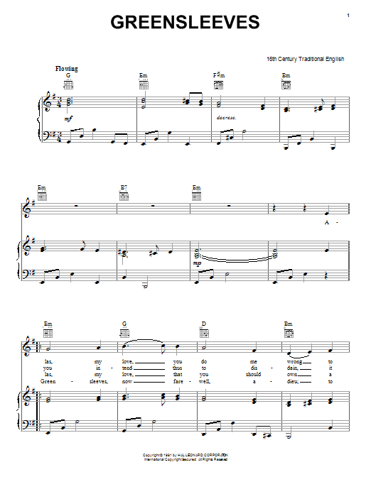 Greensleeves (Piano, Vocal & Guitar (Right-Hand Melody))