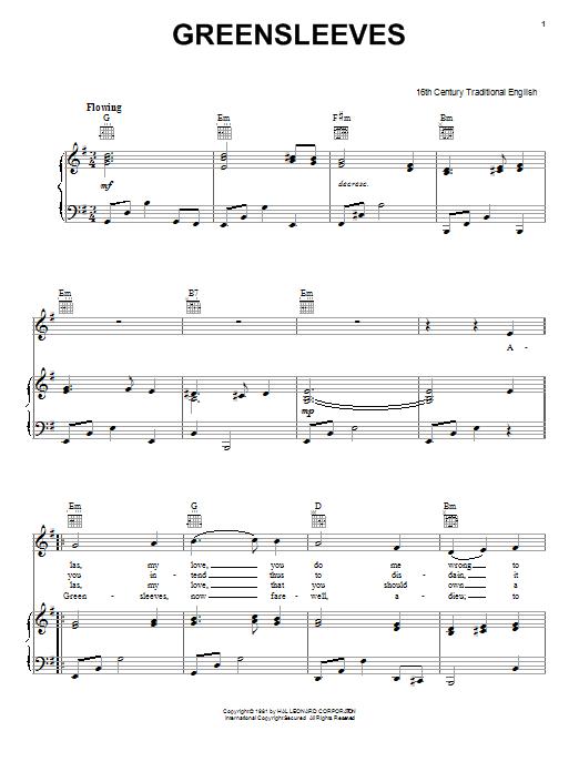 Guitar guitar tabs greensleeves : Greensleeves sheet music by Traditional English Folksong (Piano ...